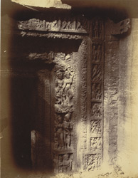 Close view of entrance to sanctum, showing sculpture detail on architrave of doorway, Lakshmana Temple, Sirpur